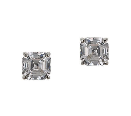 Diamonique 2.00 ct tw Asscher Stud Earrings, 14K Gold