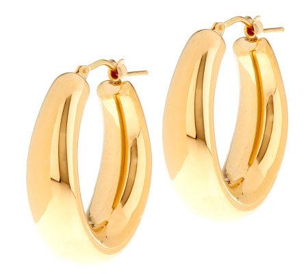 Oro Nuovo 1 Graduated Oval Hoop Earrings 14k