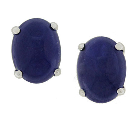 Sapphire Oval Cabochon Stud Earrings, Sterling