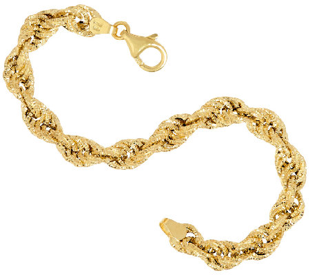 "Italian Gold Textured Fancy 6-3/4"" Rope Bracelet 4.4g"