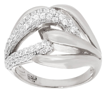 Diamonique 7/10 cttw Pave'& Polished Band Ring, Sterling