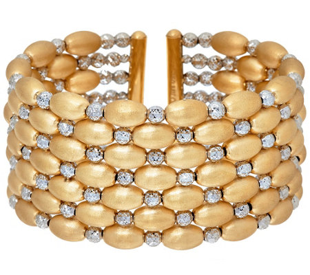 Arte d' Oro Large Diamond Cut Bead Cuff Bracelet 18K, 40.5g