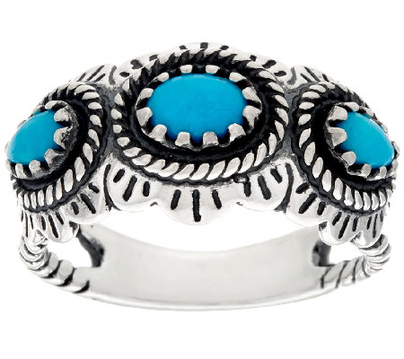 American West Sleeping Beauty Turquoise Sterling 3 Stone Ring