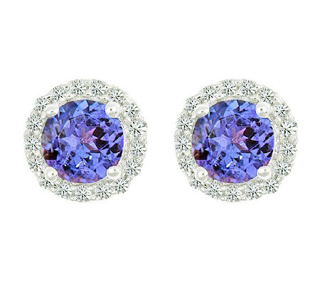Premier Gemstone & 1/8cttw Halo Earrings, 14K White Gold