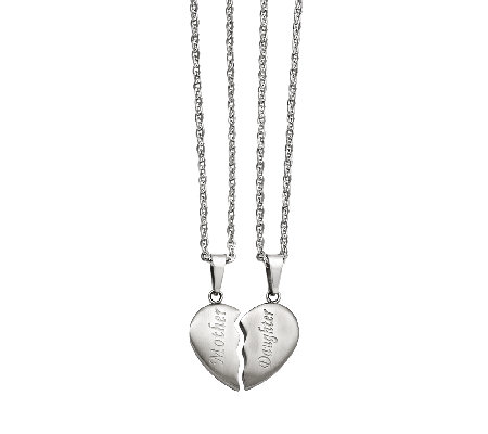 Stainless Steel Set of Mother/Daughter Pendant Necklaces