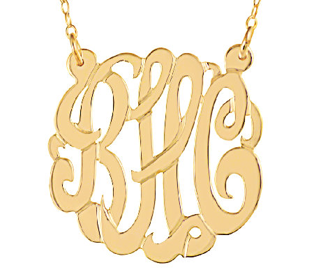"Sterling & Plated 7/8"" Personalized Script Monogram Necklace"