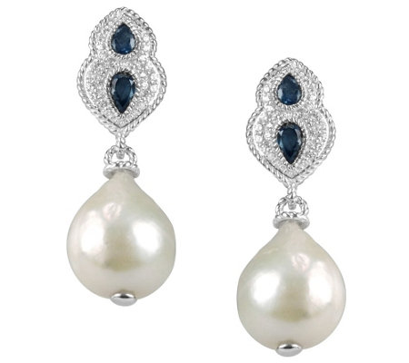 Judith Ripka Sterling Gemstone and Baroque Pearl Drop Earring