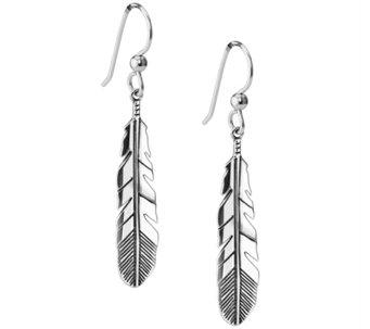 Sterling Silver Feather Dangle Earrings by American West - J343321