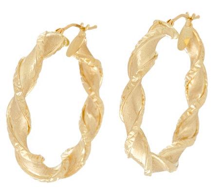 As Is Arte D Oro 1 1 2 Satin Finish Twist Hoop Earrings 18k