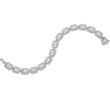 "Judith Ripka Sterling or 14K Clad 6-3/4"" Diamonique Tennis Bracelet"