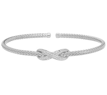 Diamonique Infinity Center Cuff Bracelet, Sterling