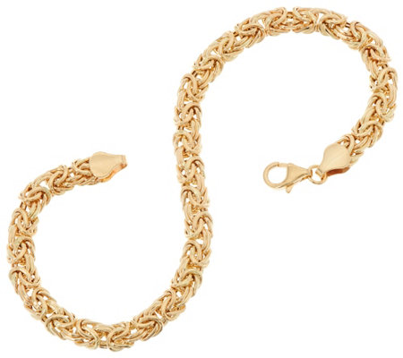 """As Is"" 14K Gold 6-3/4"" Domed Byzantine Bracelet, 3.7g"