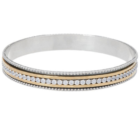 Or Paz Sterling Two-tone Crystal Spinner Bangle