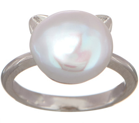 Honora Cultured Pearl Cat Design Ring, Sterling Silver