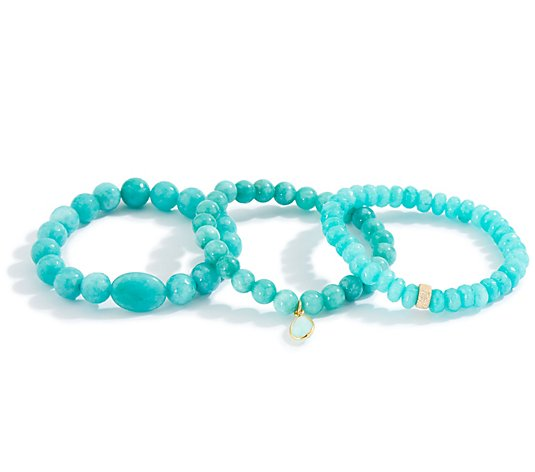 Dee Berkley Set of Three Blue Quartzite Bracelets