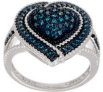 Affinity Diamond 1/3cttw Colored Diamond Heart Ring, Sterling - J358221
