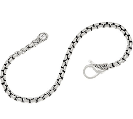 JAI Sterling Silver 3.7mm Box Chain Bracelet