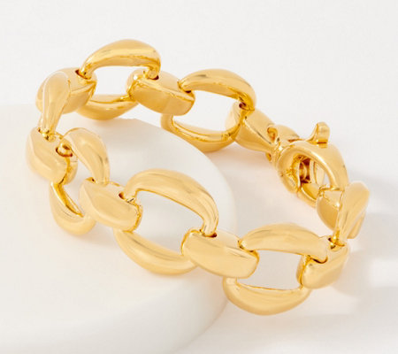 Oro Nuovo 14k Gold Over Resin Polished Bold Link Bracelet Qvc