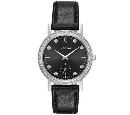 Bulova Women's Crystal Watch with Black LeatherStrap