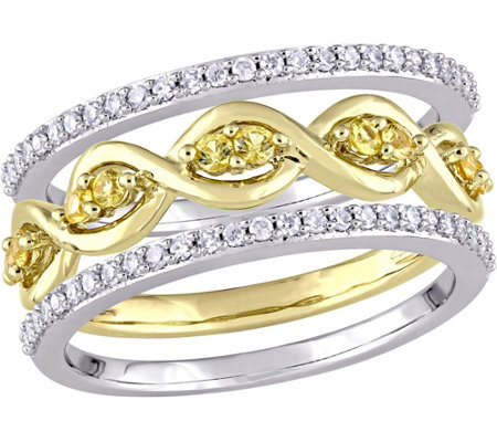0.25 cttw Yellow Sapphire & 1/4 cttw Diamond Ring Set, 14K