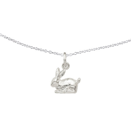"Sterling 3-D Rabbit Pendant w/18"" Chain by Silver Style"