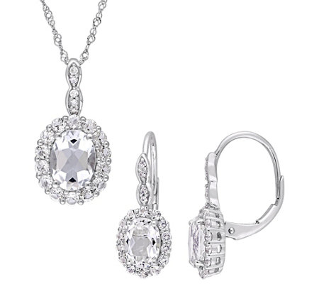 14k Gold 4 75 Cttw White Topaz W Halo Necklace Earrings Set