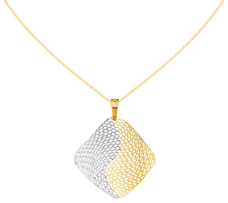 "Italian Gold Two-Tone Square Wavy Pendant with18"" Chain, 14K"