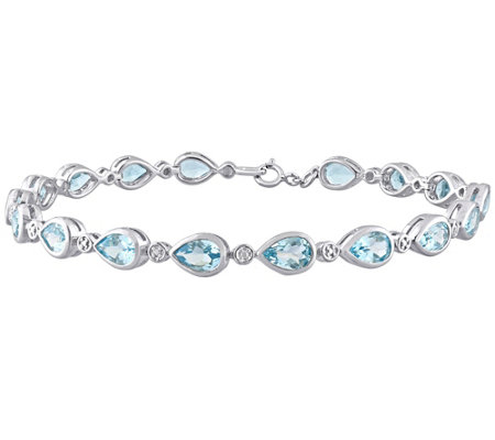Sterling 7 50 Cttw Sky Blue Topaz Link Bracelet
