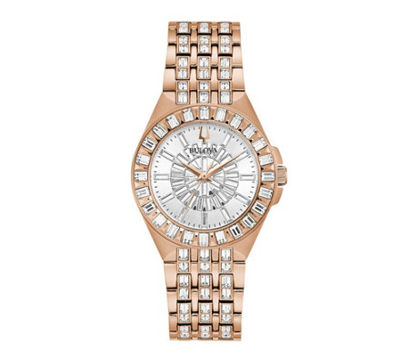Bulova Women's Rosetone Stainless Steel Crystal Watch