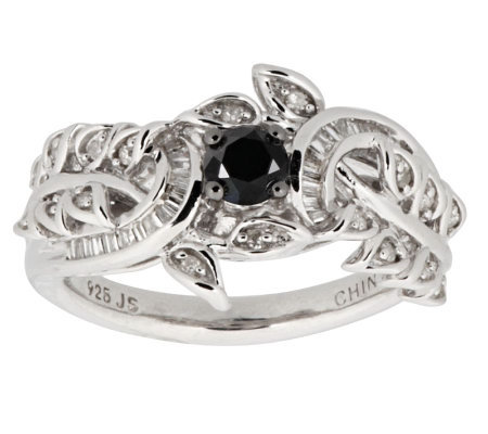 AffinityDiamond 1/2 ct tw Black and White Vintage Ring, Sterling
