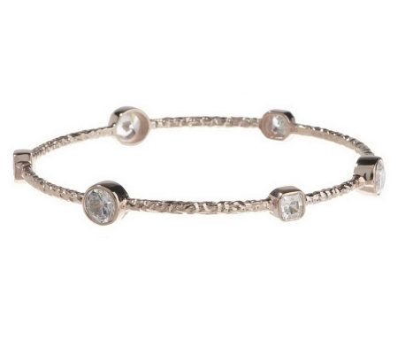 """As Is"" Diamonique Sterling or 14K Clad 6.45 ct tw Bangle Bracelet"