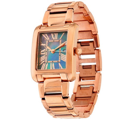 Bronze Black Mother-of-Pearl Rectangle Watch by Bronzo Italia