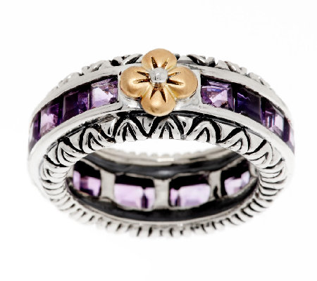 Barbara Bixby Sterling & 18K Pave Amethyst Stack Ring