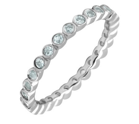 Simply Stacks Sterling Aquamarine Eternity Stackable Ring