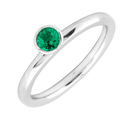 Simply Stacks Sterling 4mm Created Emerald Sol.Stackable Ring