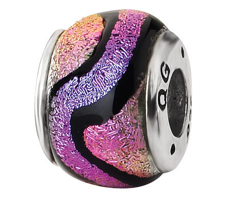 Prerogatives Sterling Purple and Pink DichroicGlass Bead