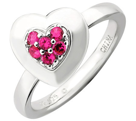 Simply Stacks Sterling Polished Simulated RubyHeart Ring