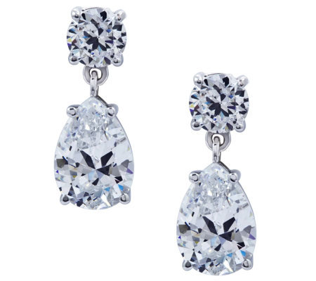 Diamonique Sterling Dangle Earrings