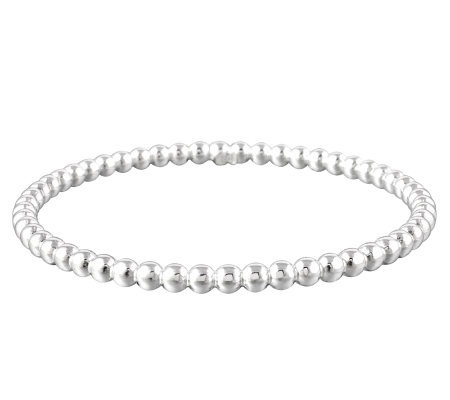 UltraFine Silver Average Polished Bead Slip-OnBangle, 6.60g