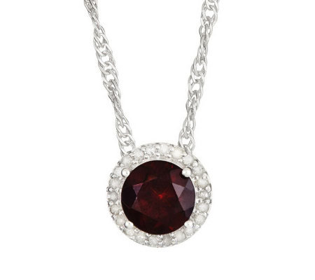 Sterling Round Gemstone 1/8 ct tw Diamond HaloPendant w/Chain