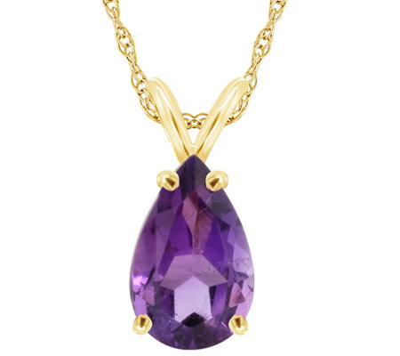 "Pear-Shaped Gemstone Pendant with 18"" Chain, 14K"