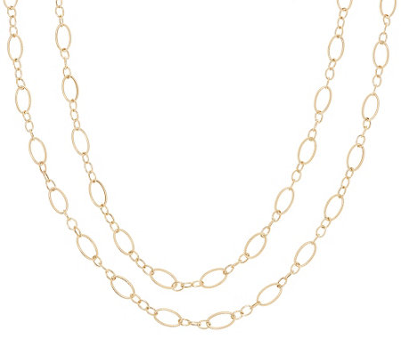 "14K Gold 54"" Textured and Polished Oval Link Necklace, 9.0g"