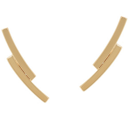 14K Gold Polished Double Bar Ear Climber Earrings