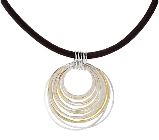 RLM Bronze Two Tone Multi Rings Pendant on Single Leather Cord