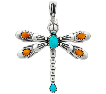 American West Sterling Silver Gemstone Dragonfly Pin/Pendant