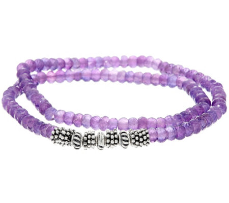 """As Is"" Luv Tia Sterling & 60ct. Amethyst Stretch Bracelet"