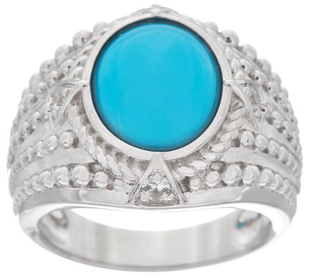 Oval Sleeping Beauty Turquoise Sterling Wide Band Ring