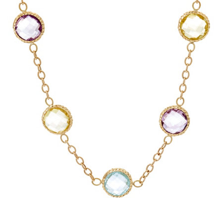 "Arte d' Oro 18"" 55.00 cttw Multi-gemstone Necklace 18K, 11.8g"