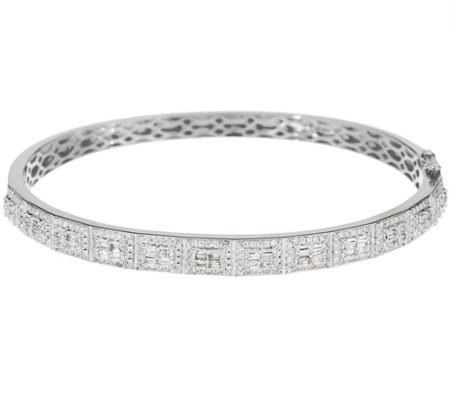 """As Is"" Baguette & Round Diamond Small Bangle, 14K 1.25 cttw"