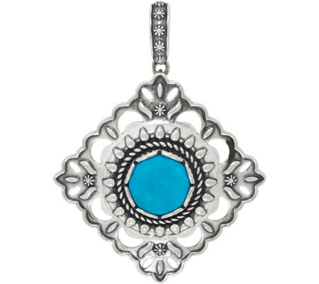 American West Turquoise and Concha Sterling Diamond Shape Enhancer